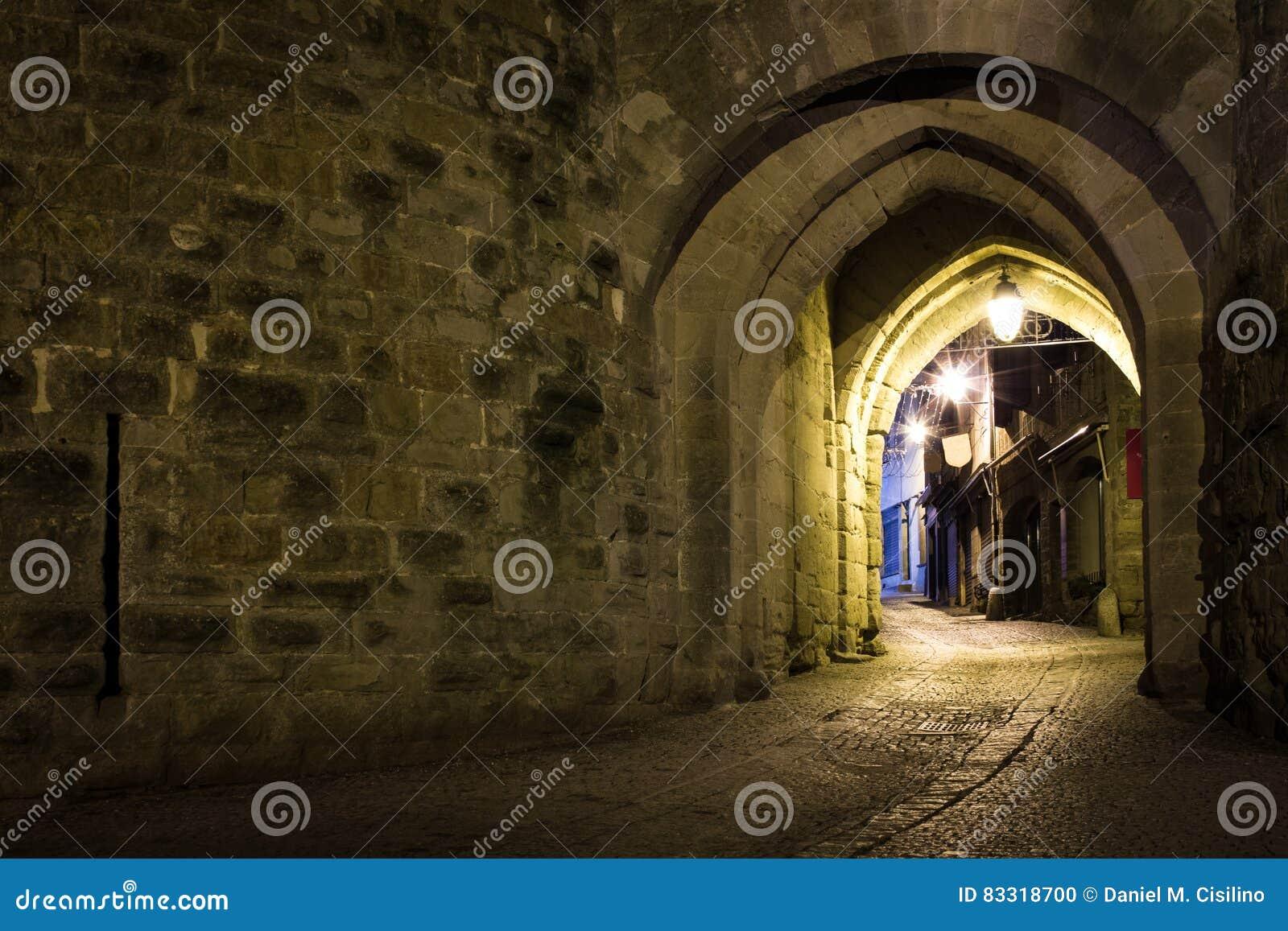 Narbonne brama przy nocą Carcassonne Francja