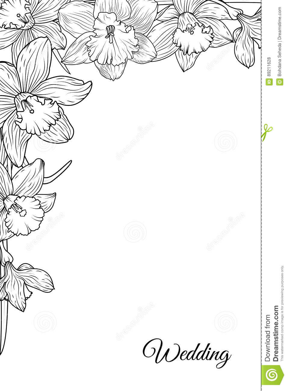 narcissus daffodil flowers corner frame template stock vector