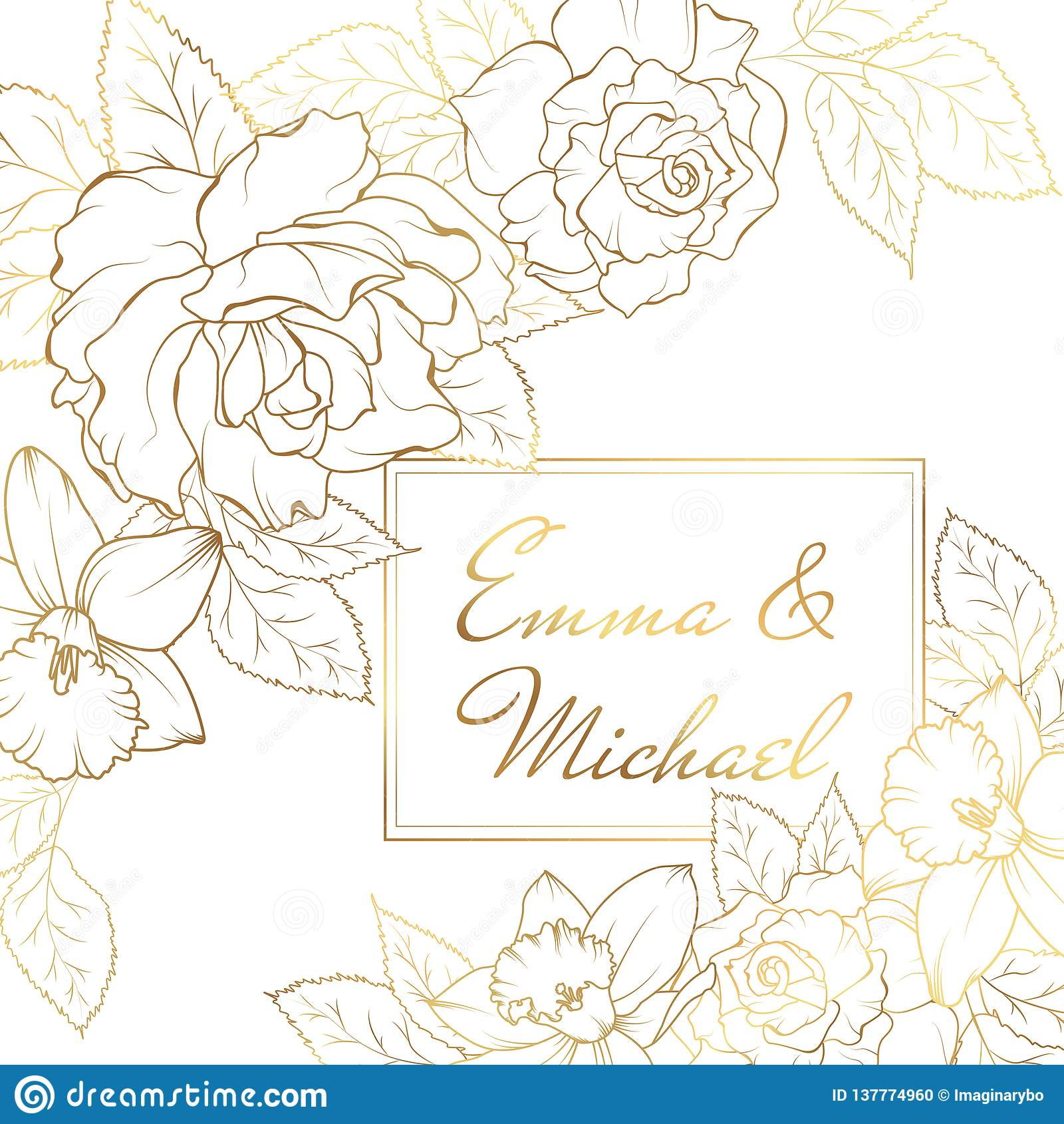 narcissus daffodil rose flowers corner frame decoration wedding marriage event invitation card template stock vector illustration of light card 137774960 https www dreamstime com narcissus daffodil rose flowers corner frame decoration wedding marriage event invitation card template modern luxury bright shiny image137774960