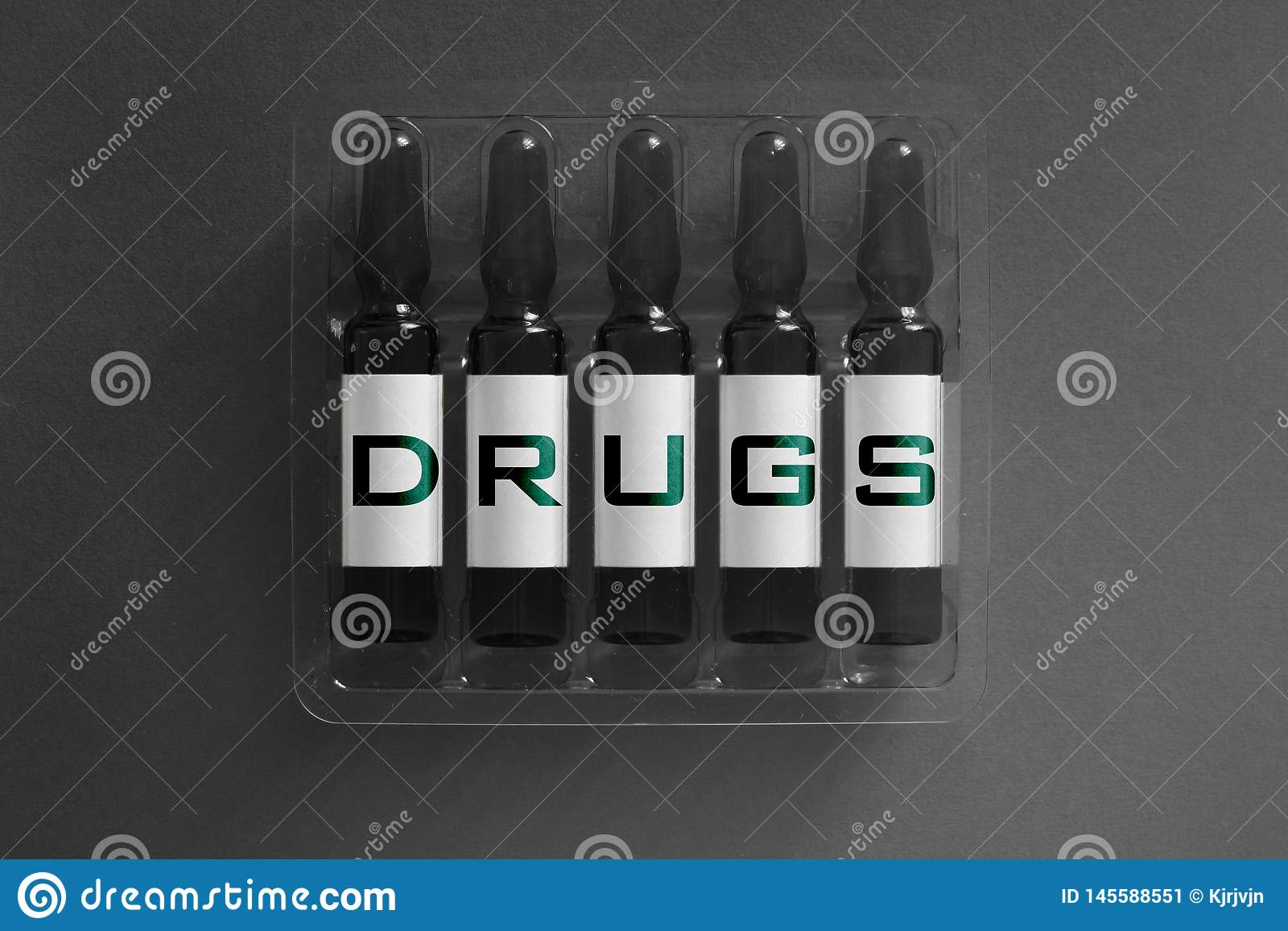 Narcotics or drugs addiction concept image