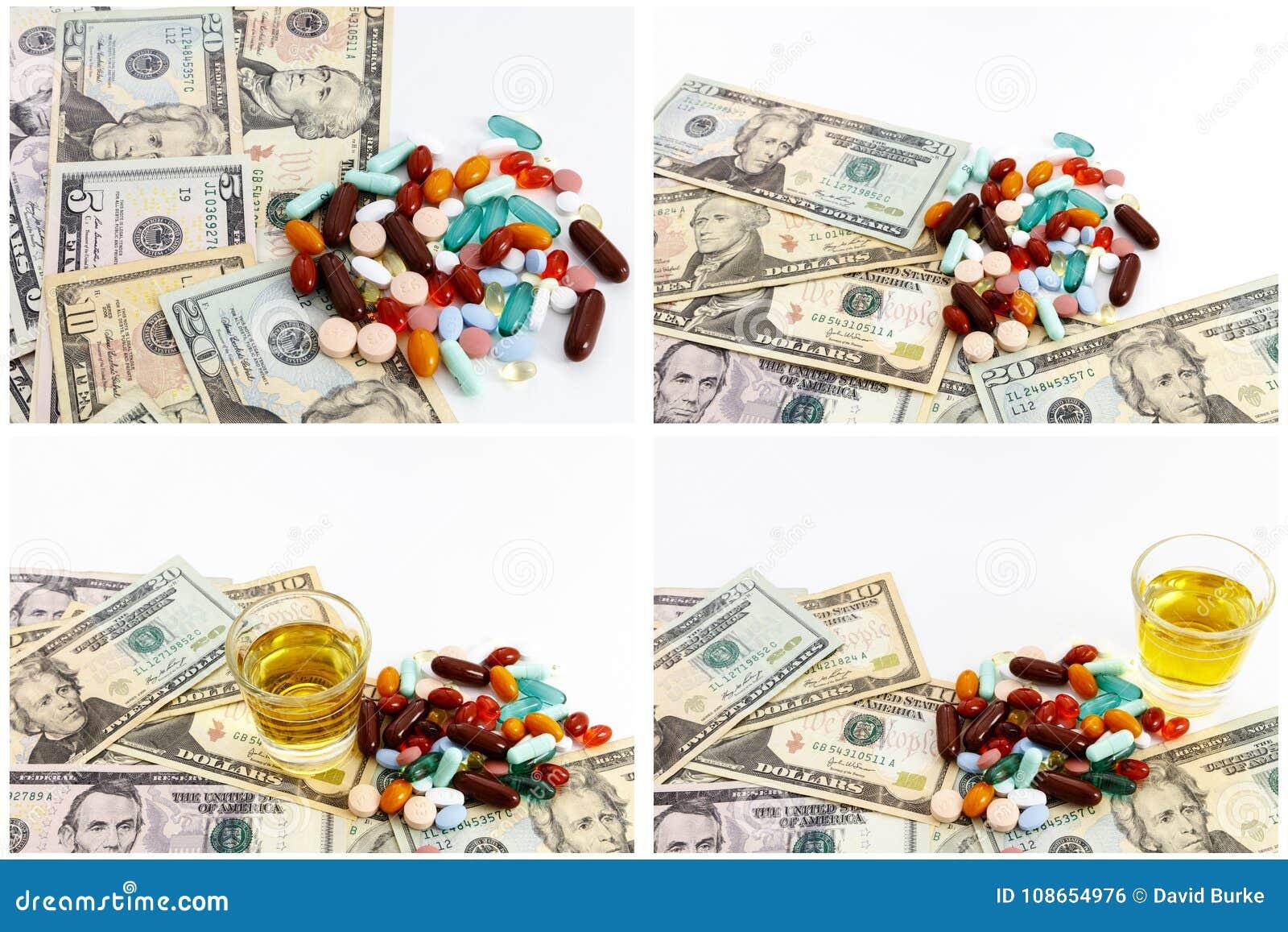 Narcotics pills drugs medicine cash collage