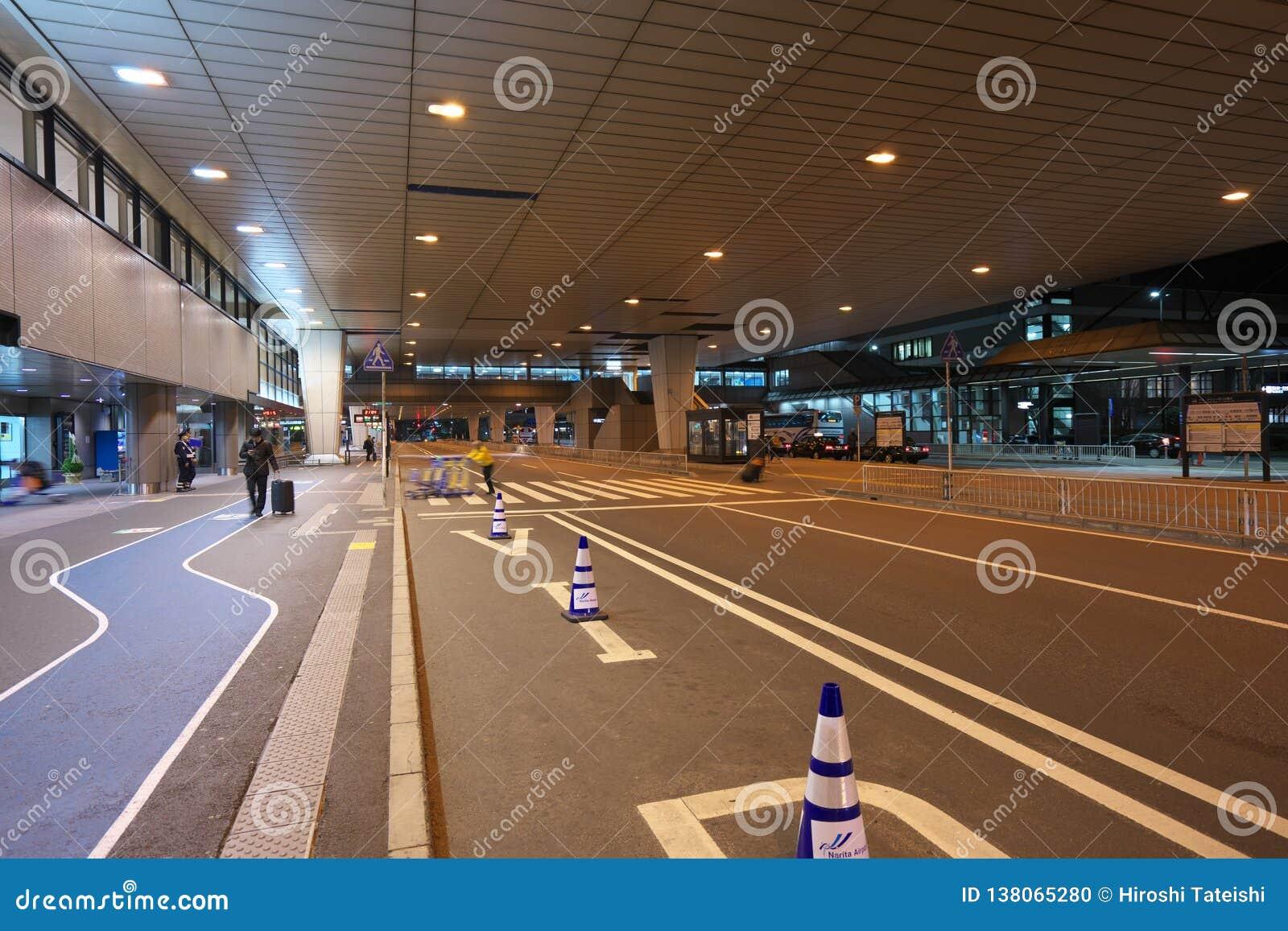 Narita International Airport Terminal 2 First Floor Bus stops at night