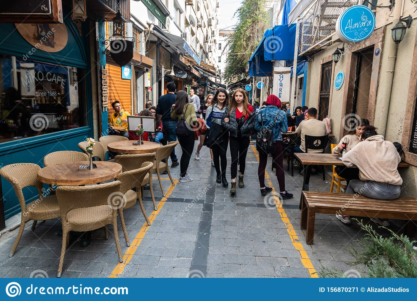 Narrow Cafe Lined Street In Alsancak District Of Izmir Editorial Photo Image Of Entertainment Nightlife 156870271