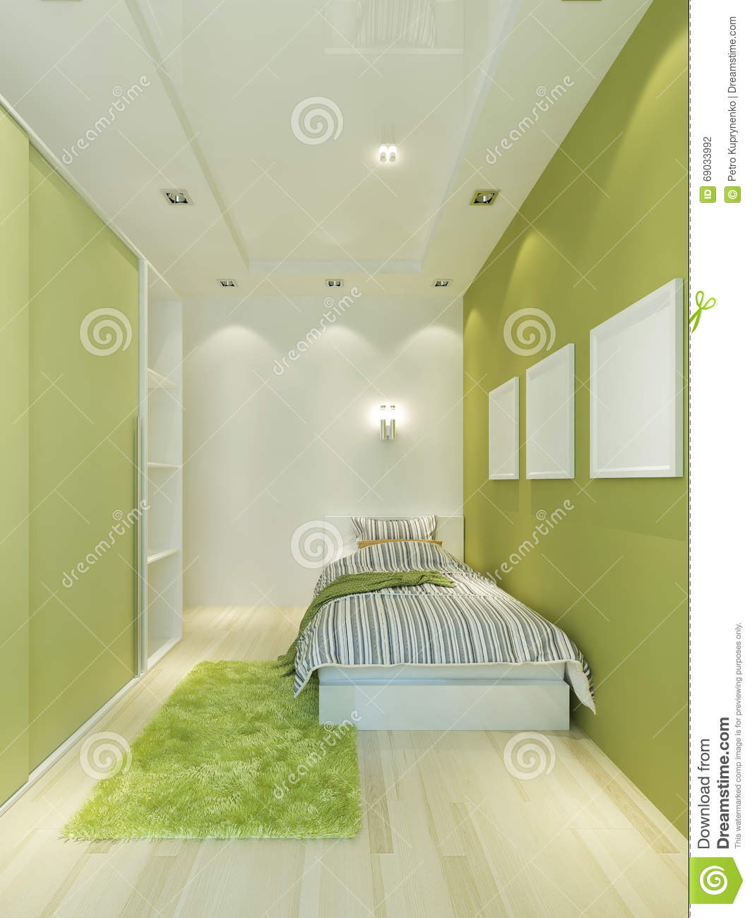 Narrow Children's Room In A Modern Style In Light Green