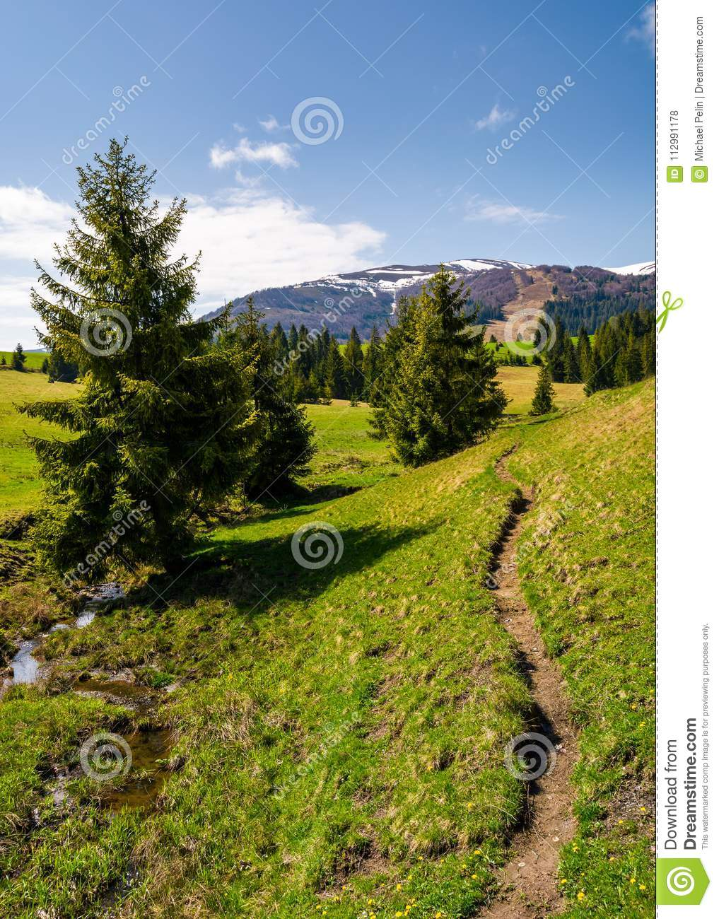Narrow footpath along the forested hills