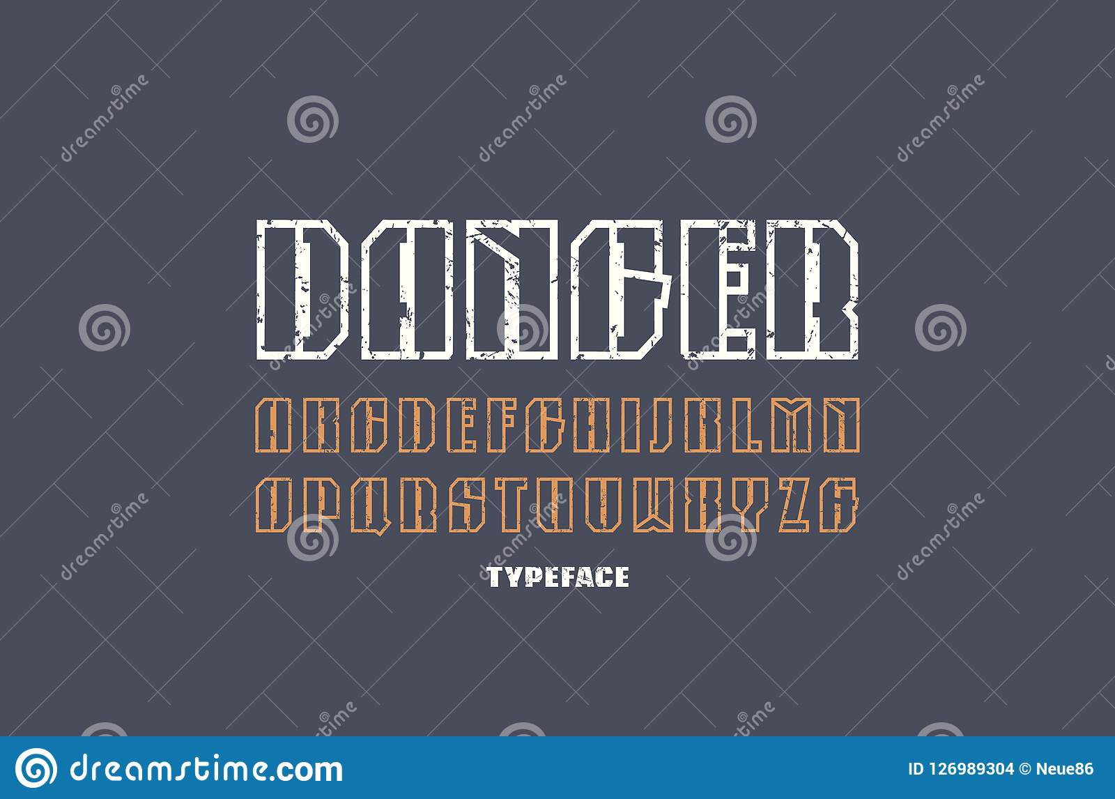 Narrow hollow sans serif font in military style letters with vintage texture for logo and emblem design color print on dark background