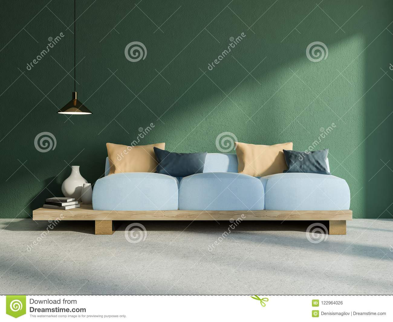 Japanese Style Sofa In Green Living Room Interior Stock ...