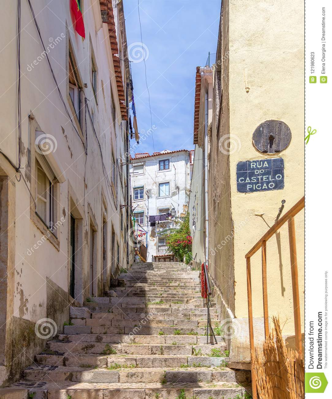 A Narrow Old Stone Staircase Between The Houses Lisbon Portugal