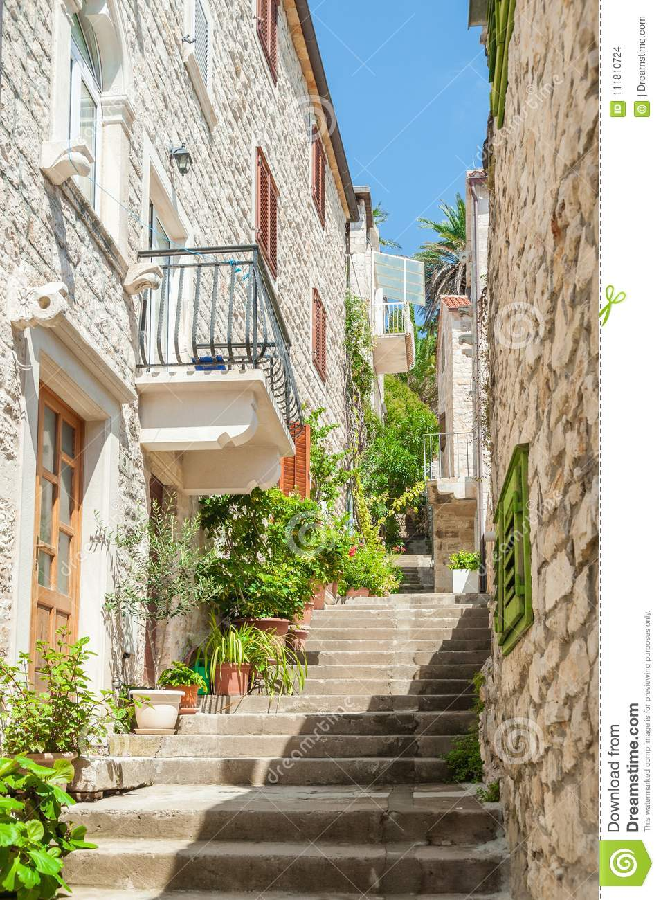 Narrow Stairs Alley Old Masonry Buildings Stock Photo Image Of