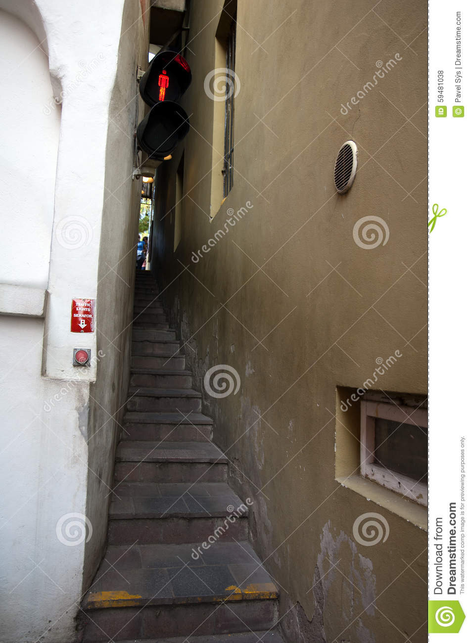 Narrow Stairs With A Traffic Light Stock Photo Image Of Funny