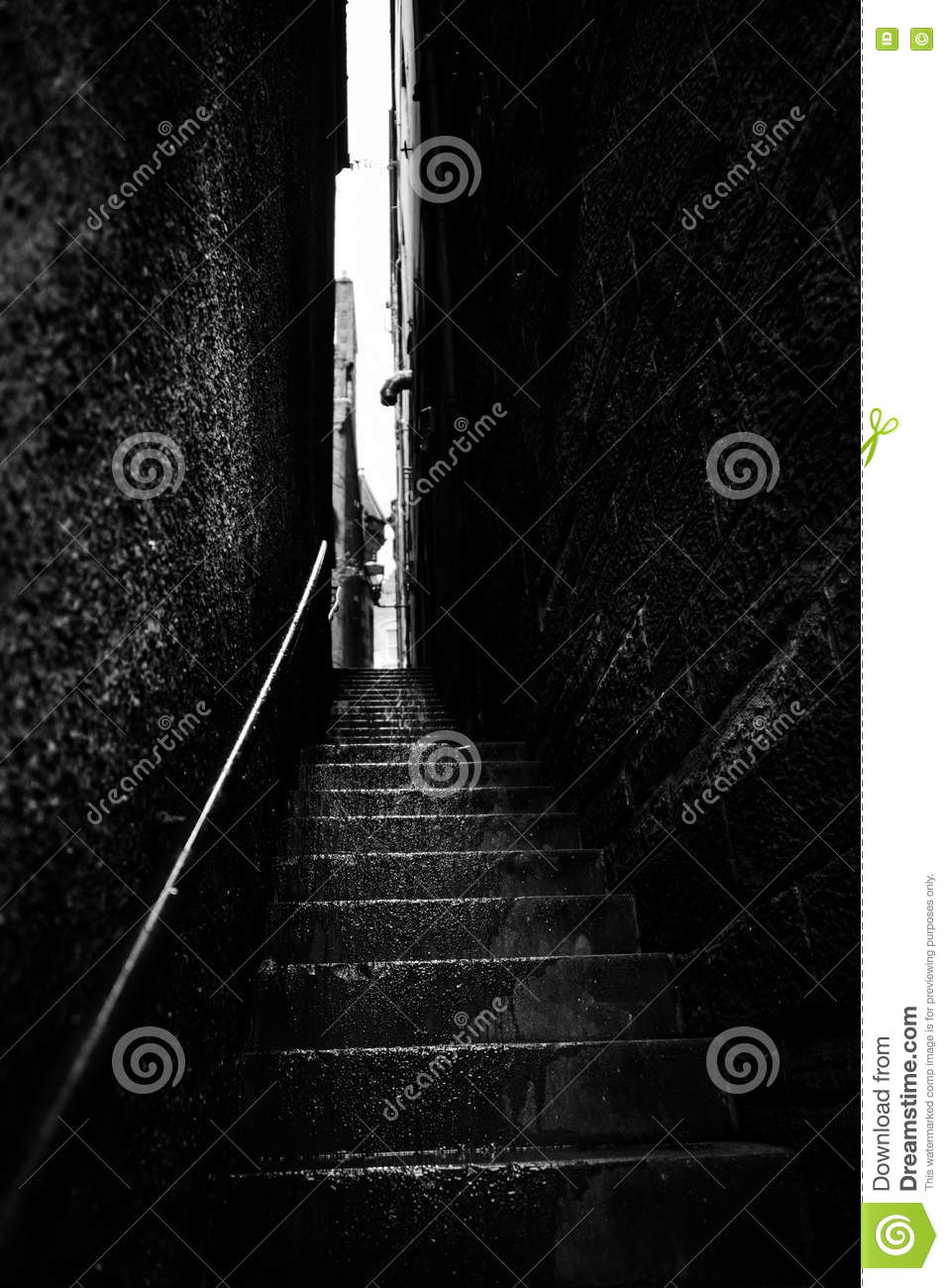 Narrow Stairs Between Two Walls Stock Image Image Of Sombre