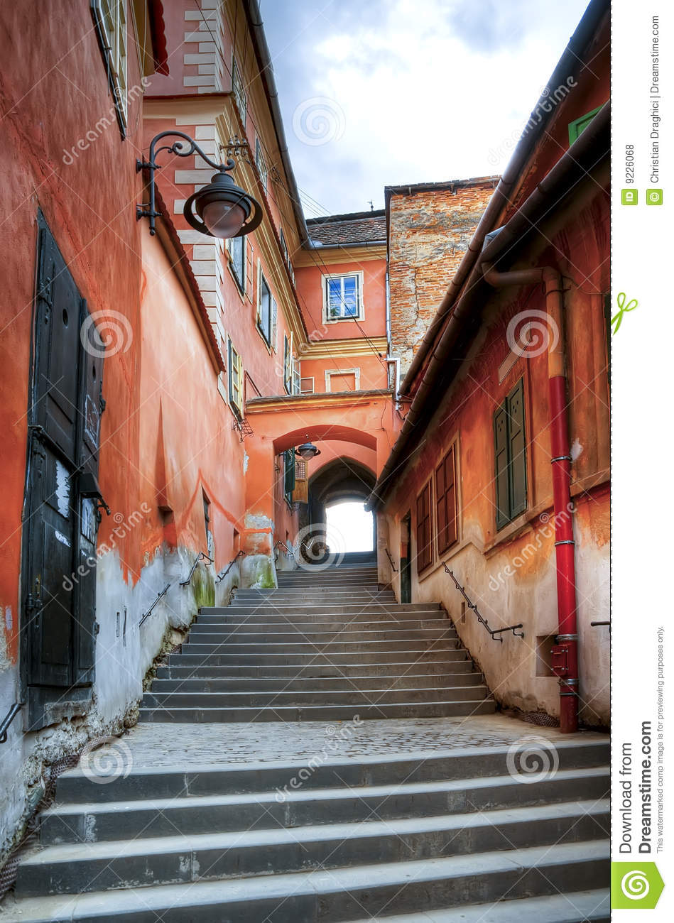 Narrow steps in sibiu stock photo. Image of ancient 75b0db8209e