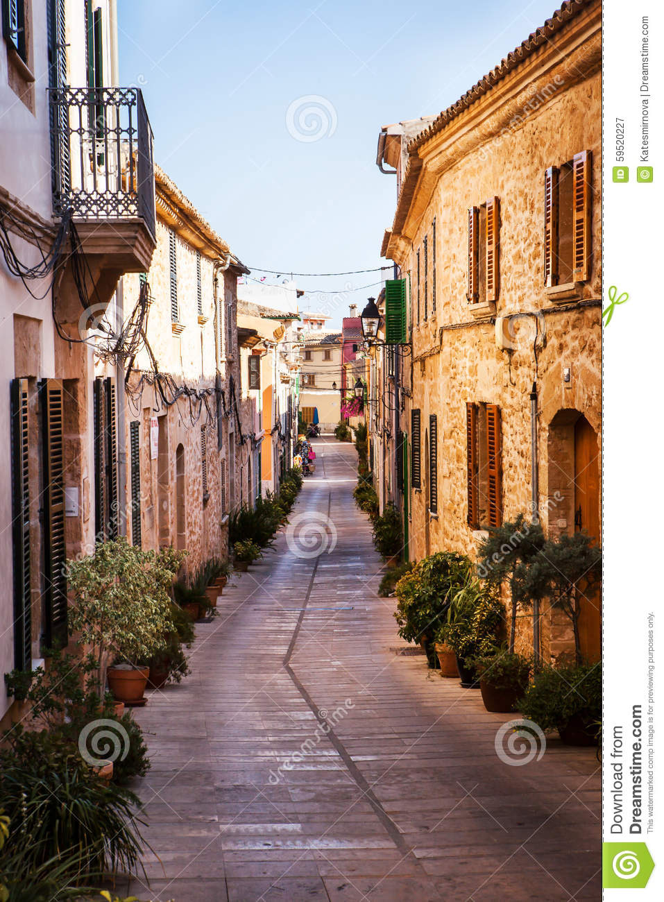 Narrow street old traditional houses village stock photo for Old traditional houses