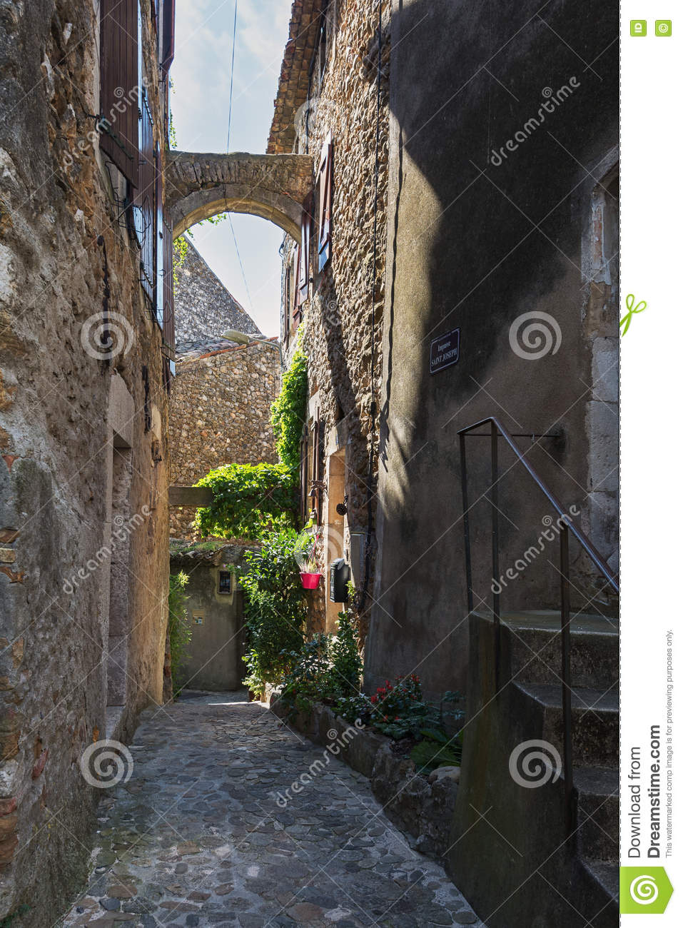 Narrow Street In A Small French Village Vallon Pont D Arc