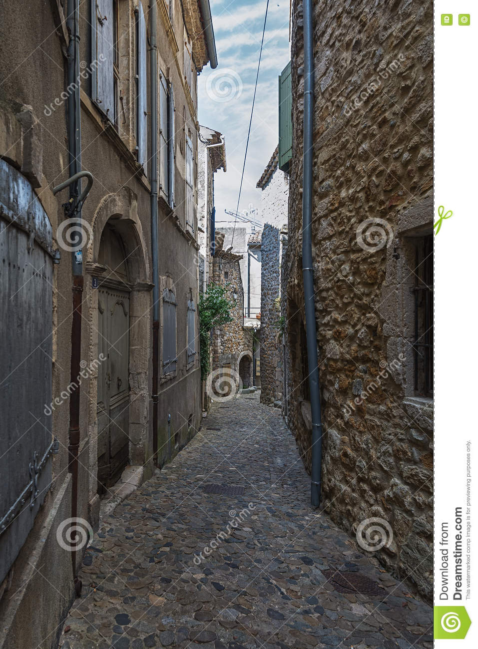 Narrow Street In The Small French Village Vallon Pont D Arc