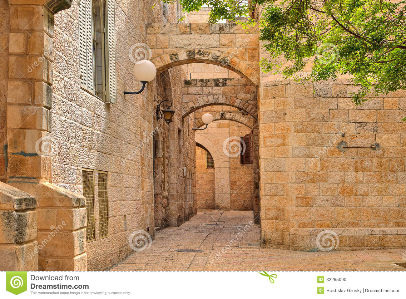Narrow Street And Stonrd Houses At Jewish Quarter In Jerusalem. Stock ...