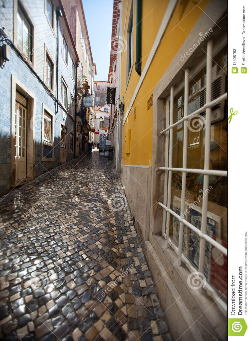 Narrow Streets Of Small Town In Portugal Stock Image
