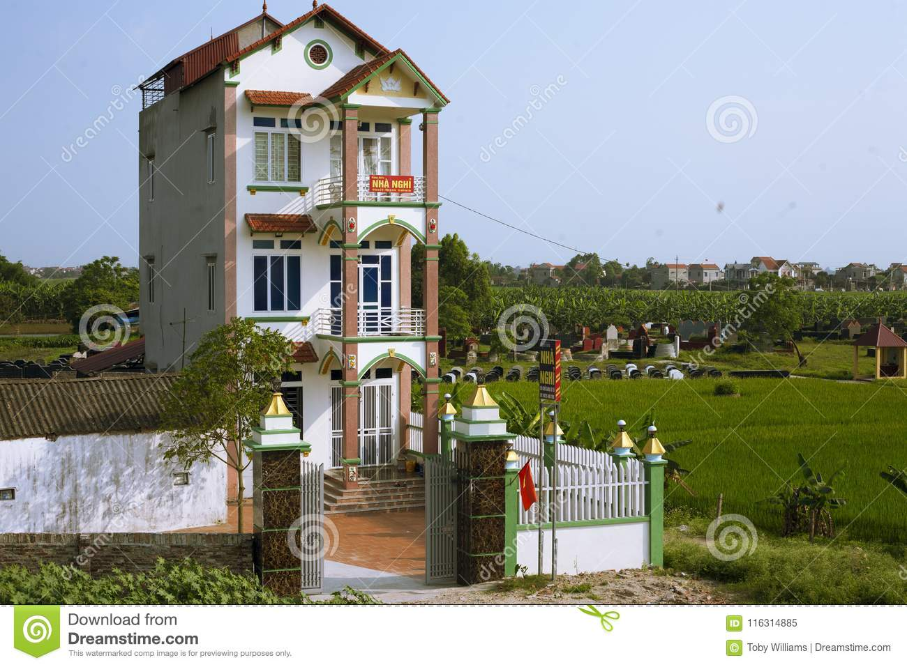 Narrow Vietnamese Tube House Stock Image Image Of Ninh Vietnam 116314885