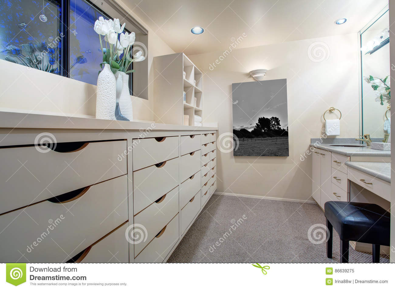 Narrow Walk In Closet Features Make Up Vanity Stock Image Image Of American Real 86639275
