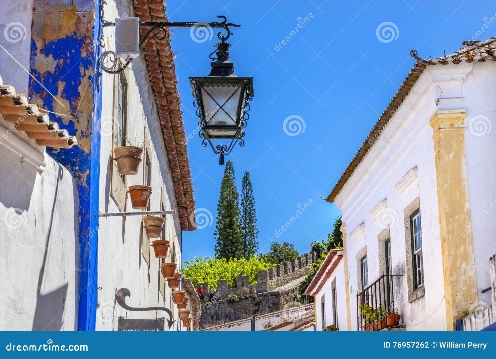 Narrow White Street Castle Wall Lamp Obidos Portugal Stock