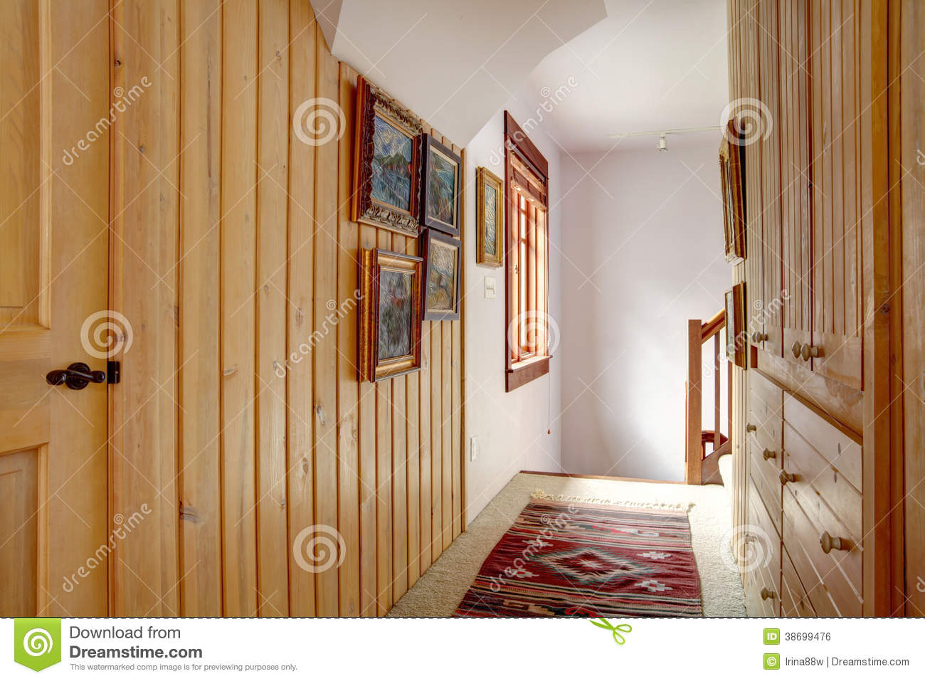 Narrow Wood Plank Paneled Hallway Stock Photo Image Of