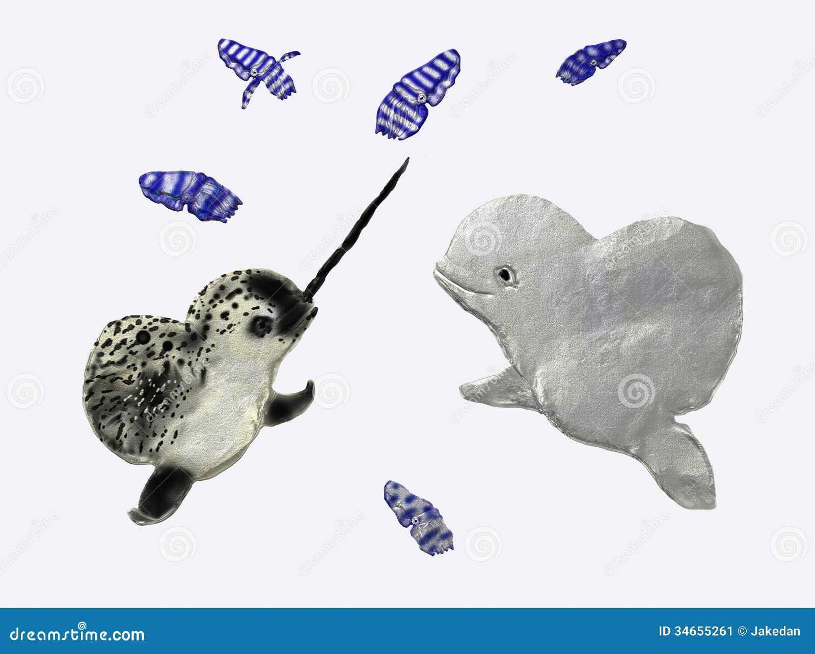narwhal and beluga stock image image 34655261