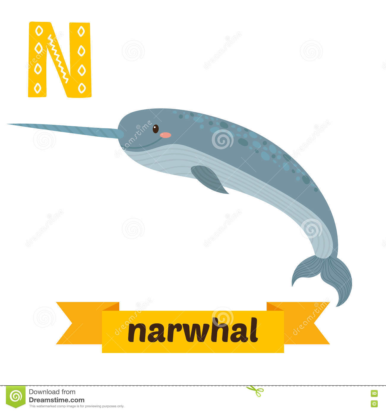 Narwhal and unicorn cartoon narwhal jokes funny pictures - Narwhal N Letter Cute Children Animal Alphabet In Vector Narwhal N Lett