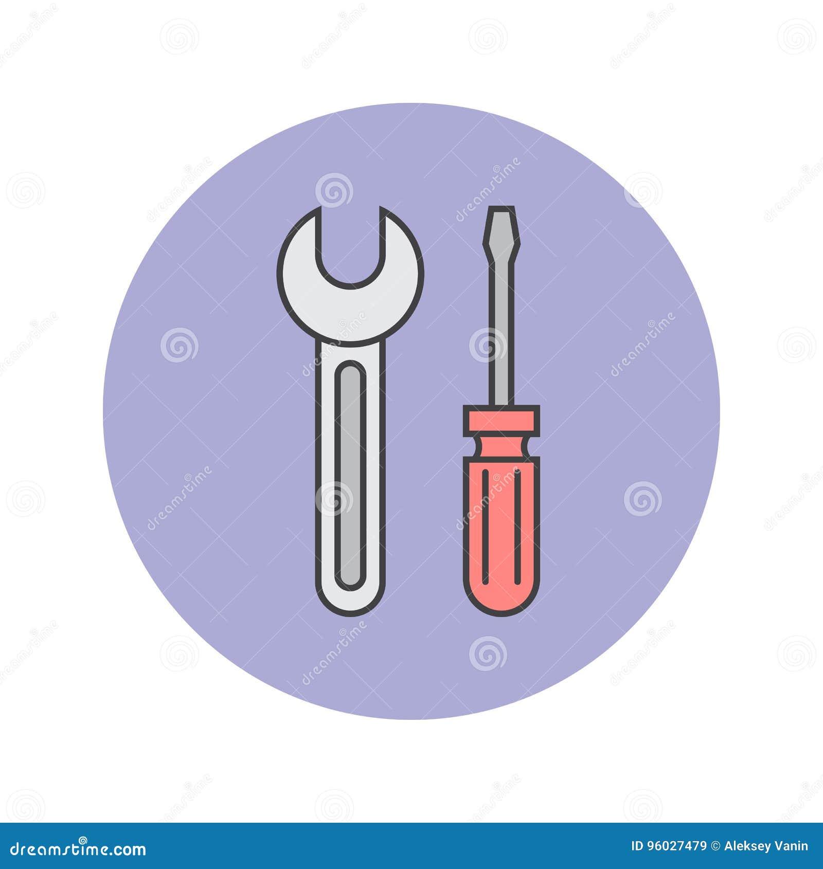 Narzędzia cienieją kreskową ikonę, wyrwanie i śrubokręt wypełniającego konturu vect,