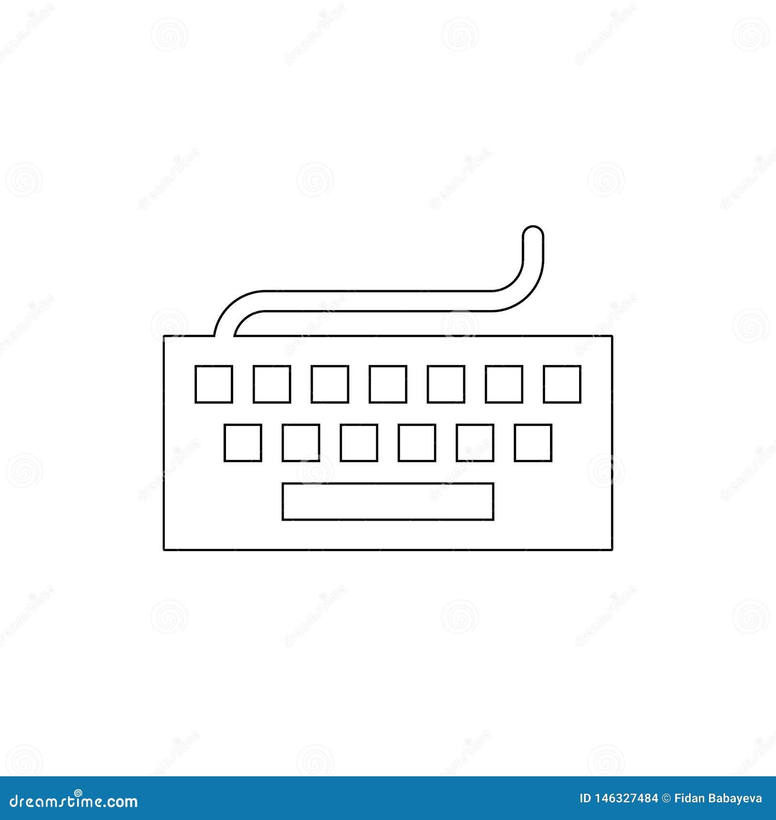 Narzędzia wkładu konturu klawiaturowa pisać na maszynie ikona Znaki i symbole mog? u?ywa? dla sieci, logo, mobilny app, UI, UX