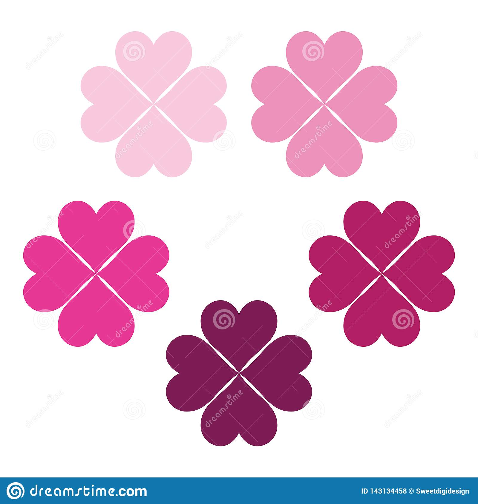 Baby pink set of clover leaves, a symbol of luck, poker symbol icon.