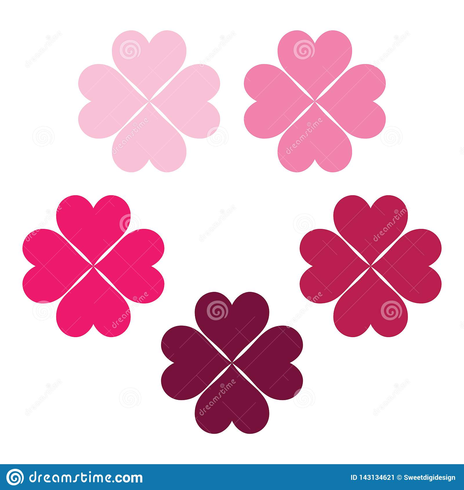 Carmine set of clover leaves, a pink symbol of luck, poker symbol icon.