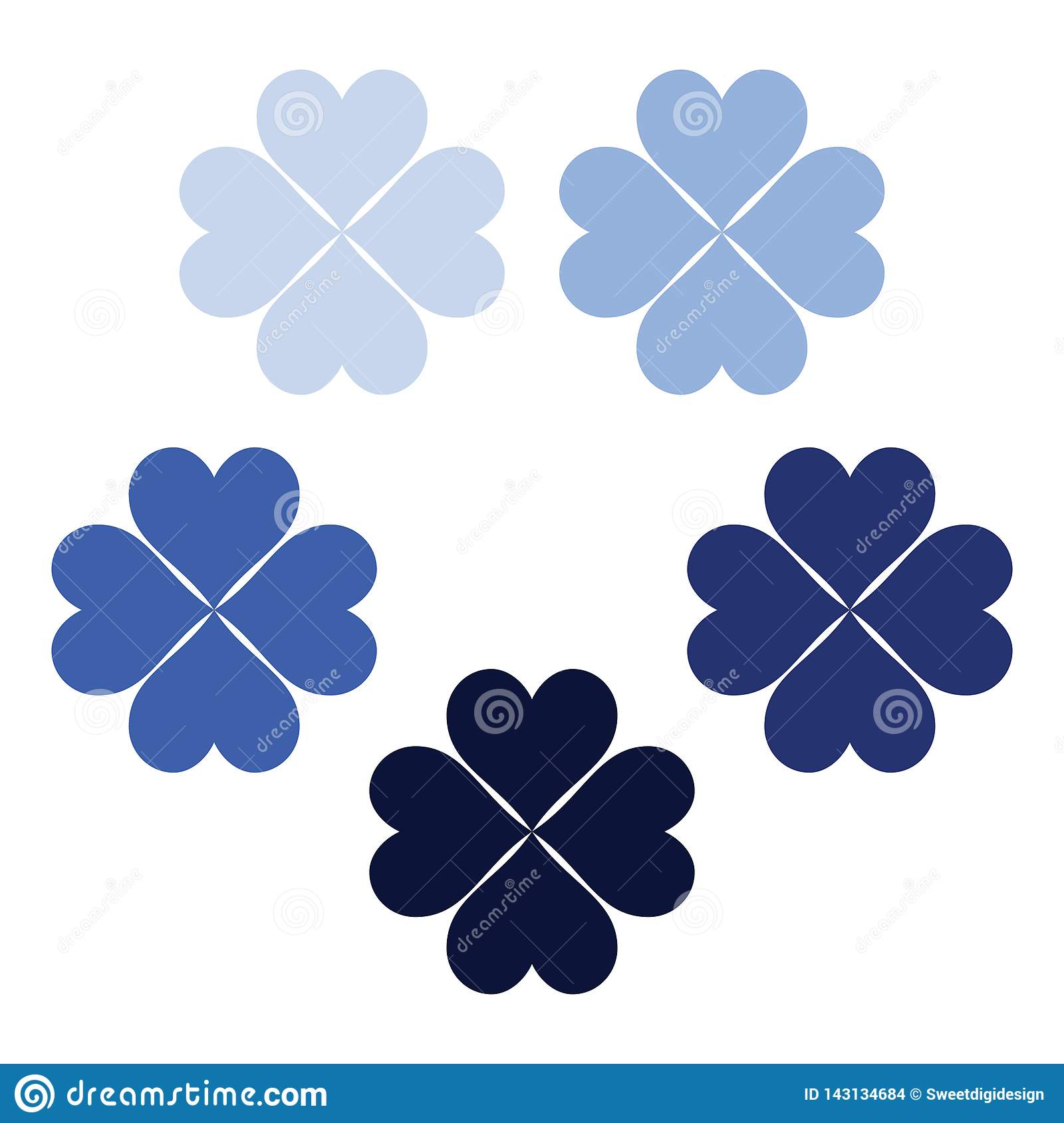 Navy blue set of clover leaves, a symbol of luck, poker symbol icon.