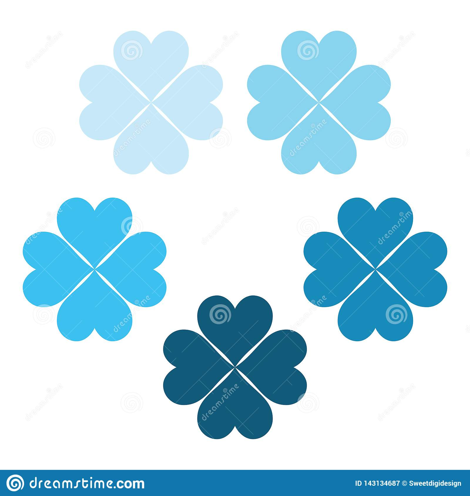 Ice blue set of clover leaves, a symbol of luck, poker symbol icon.