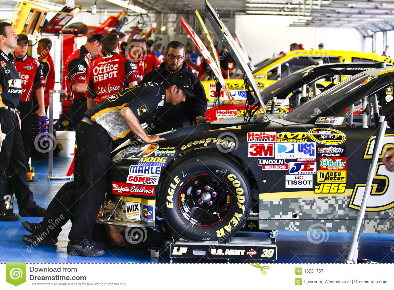 Nascar In The Garage Under The Hood Editorial