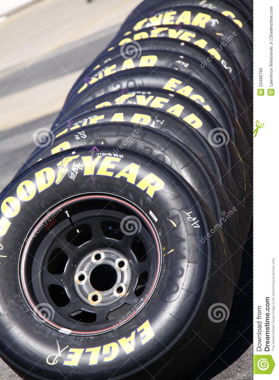 Nascar Goodyear Racing Eagle Tire Stack Editorial Image