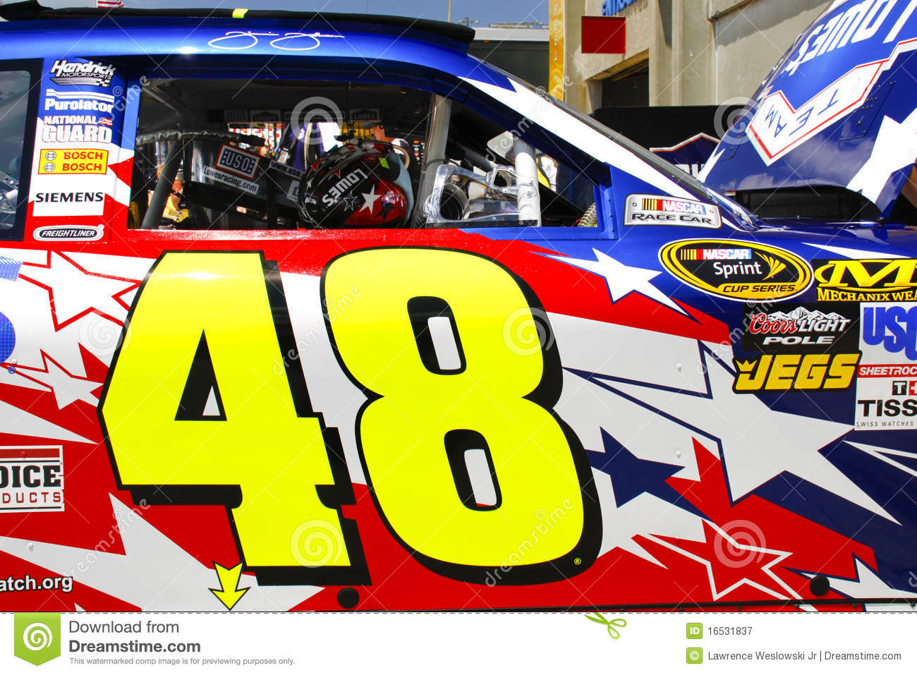 Nascar johnson 39 s 48 door decal editorial photography for Charlotte motor speedway phone number