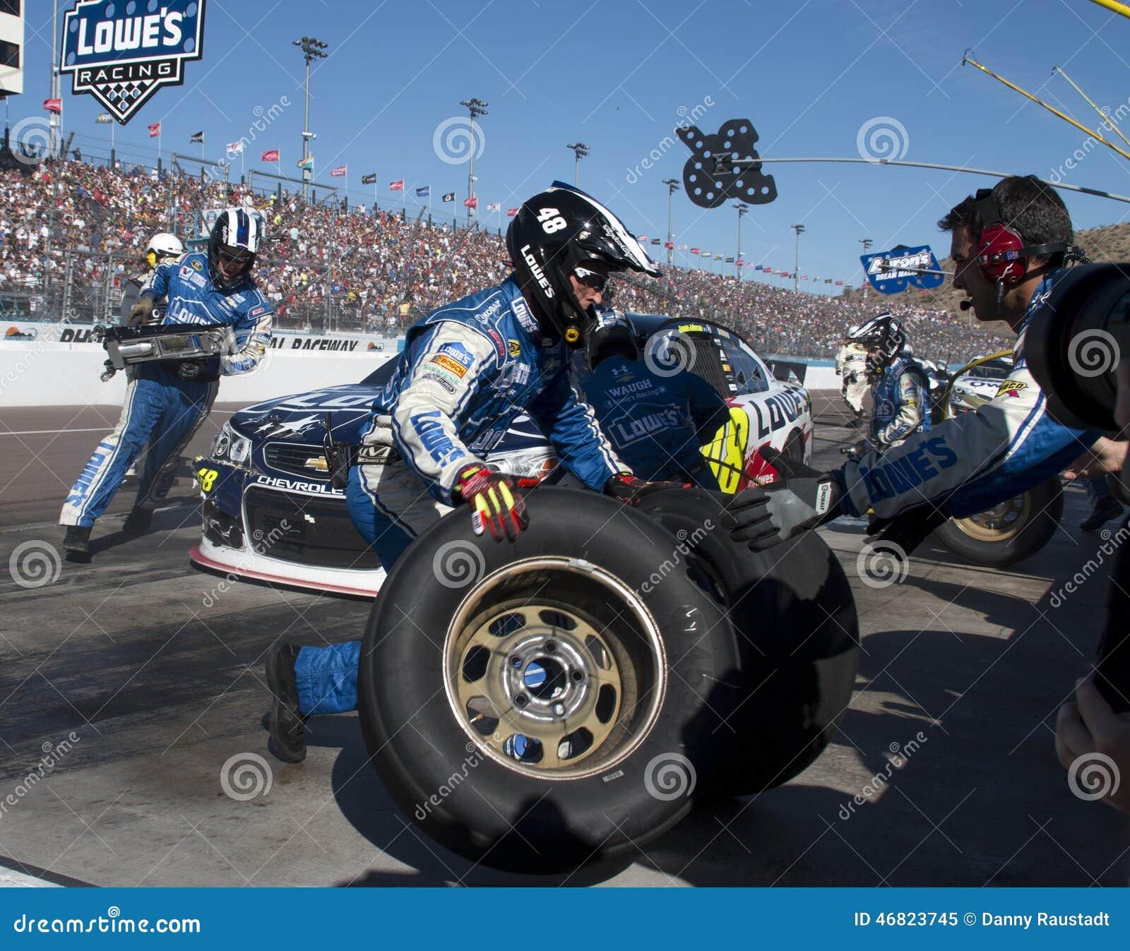 NASCAR sprintar koppchauffören Jimmie Johnson Pitstop