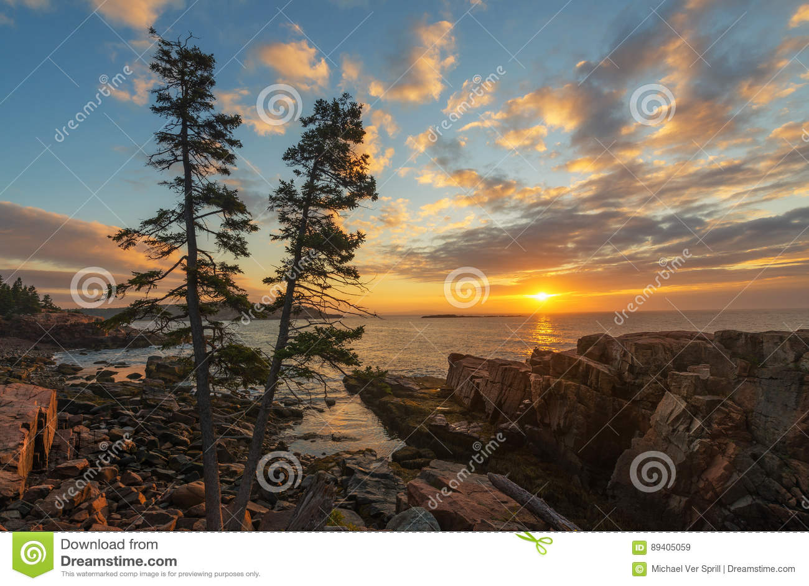 Nascer do sol do parque nacional do Acadia