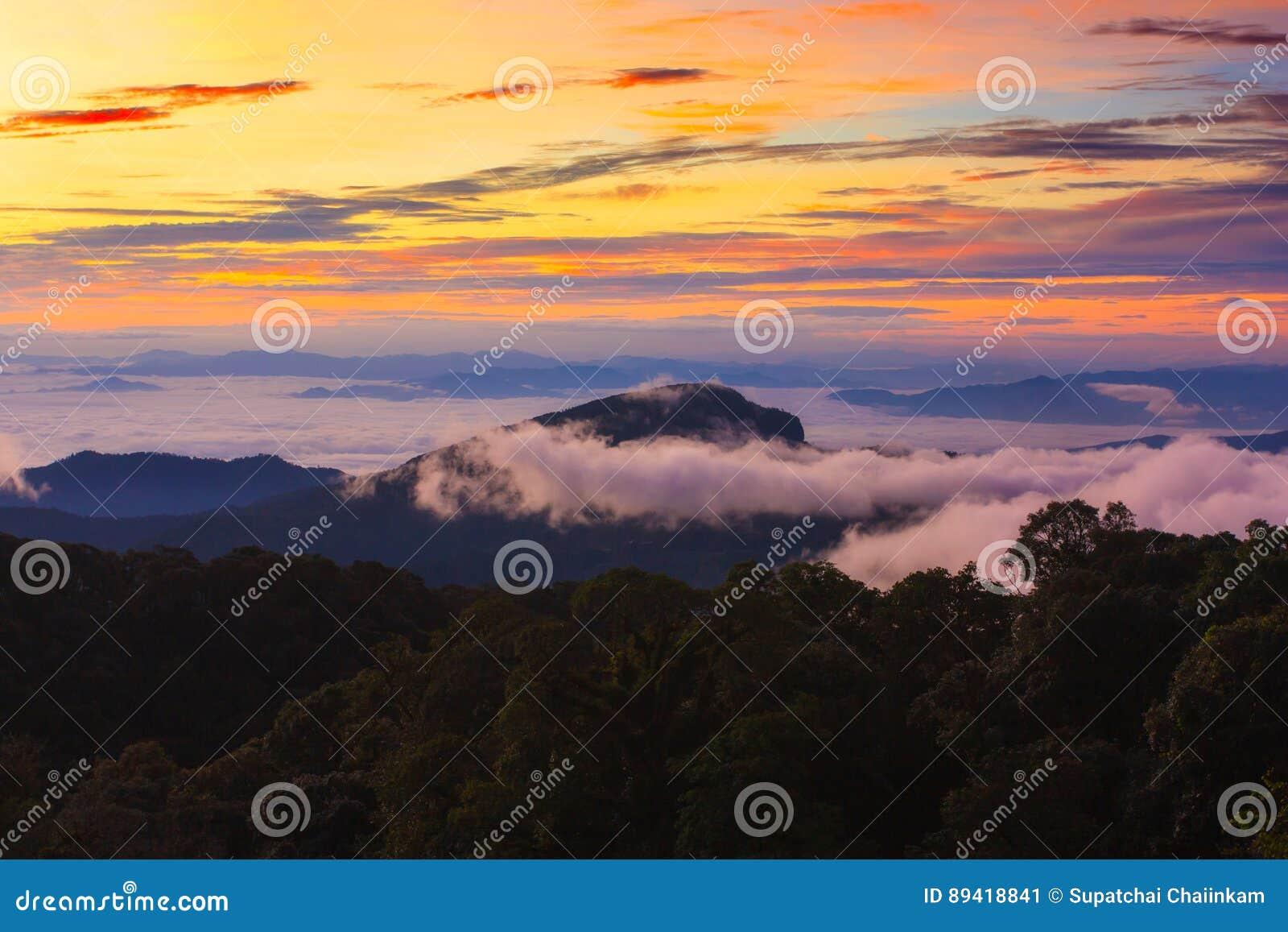 Nascer do sol enevoado da manhã na montanha em Tailândia norte