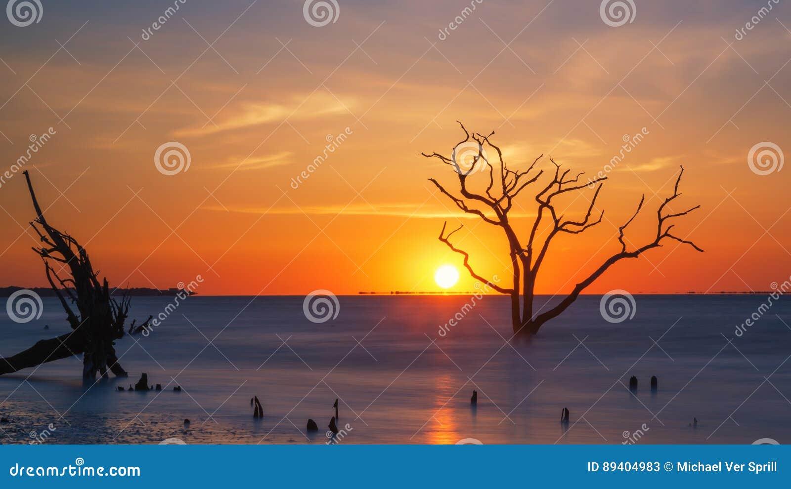 Nascer do sol na praia da baía da Botânica