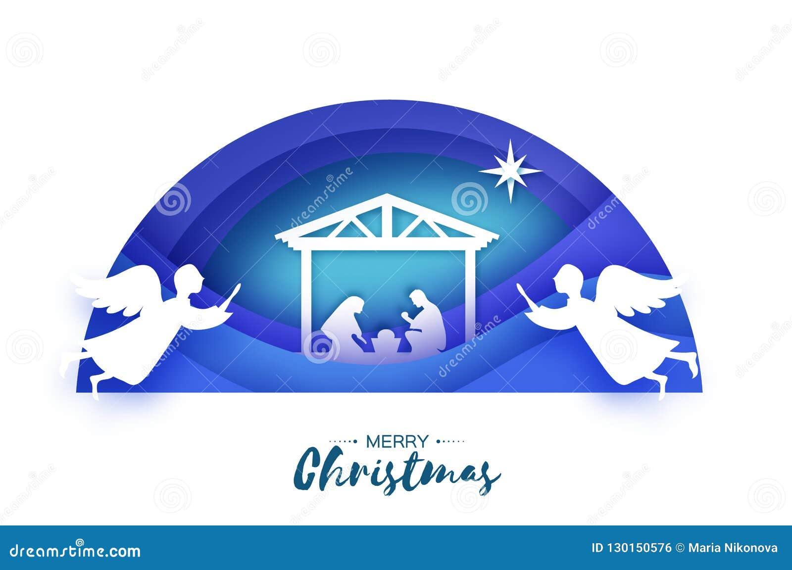 Nascimento do bebê Jesus de Cristo no comedoiro Família santamente magi angels Estrela de Belém - cometa do leste Natal da nativi
