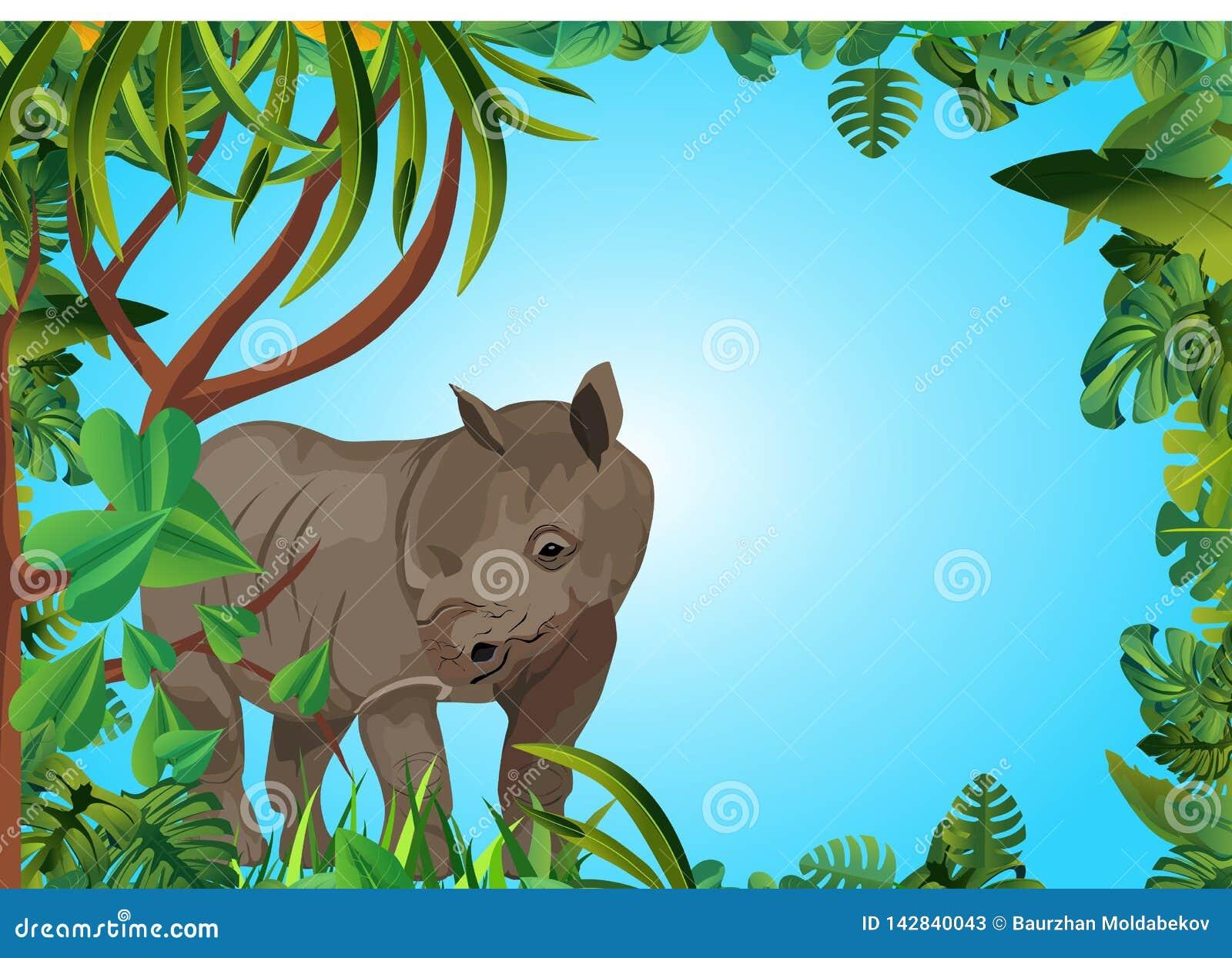Nashorn im Dschungel, Blumenrahmen