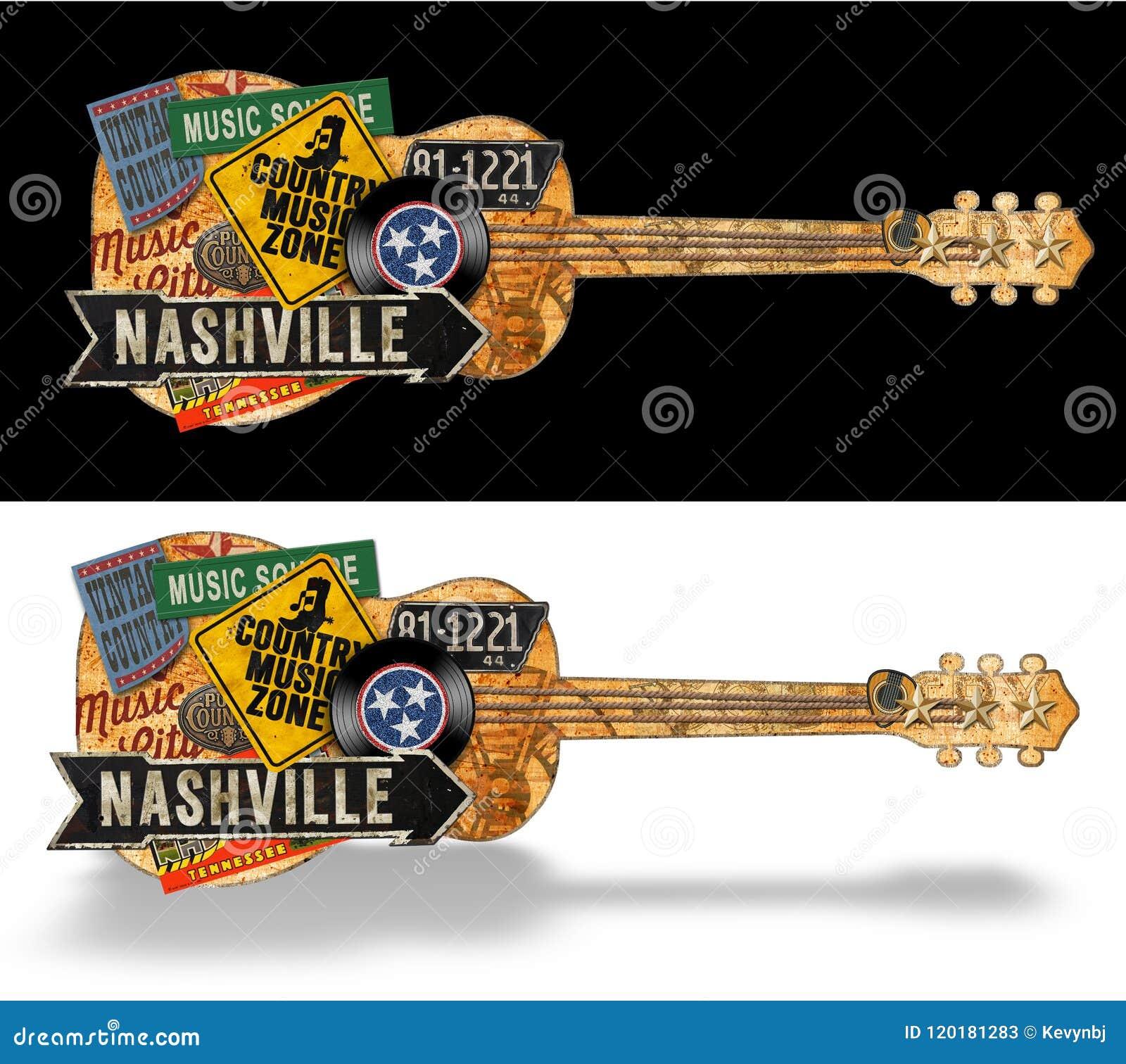 Nashville Guitar Vintage Artwork Folk Art