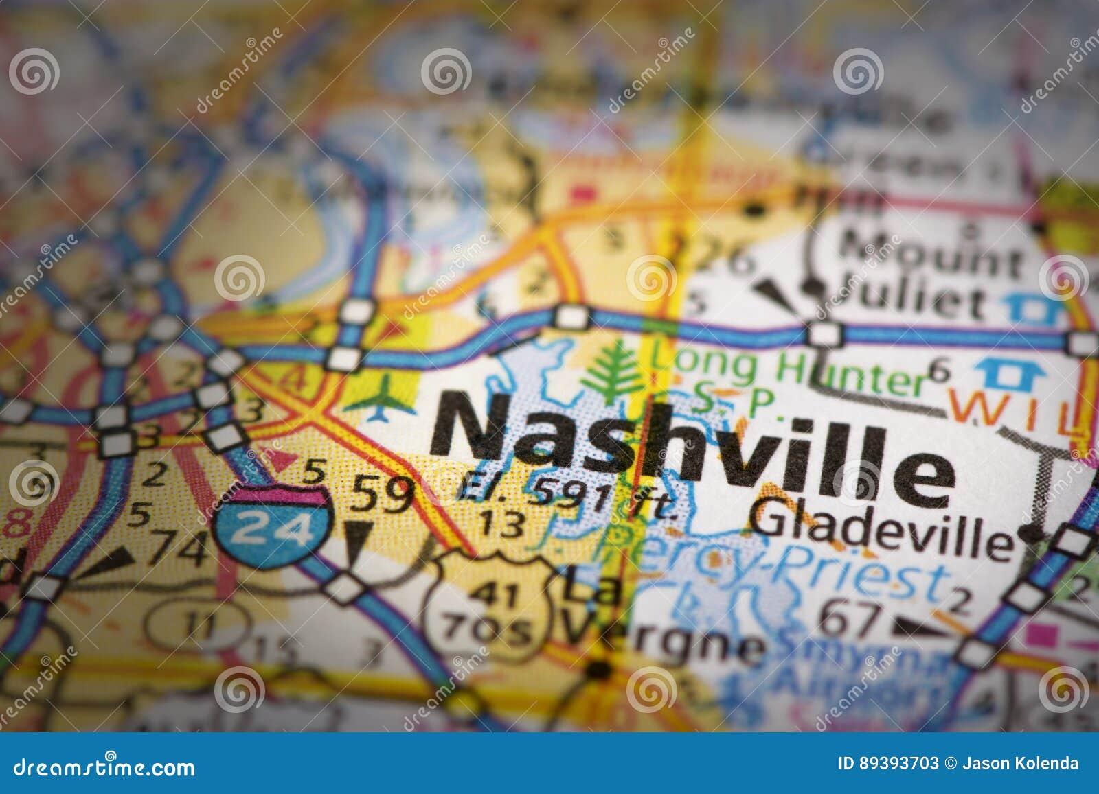 Us Map Nashville.Nashville On Map Stock Image Image Of Destination Paper 89393703