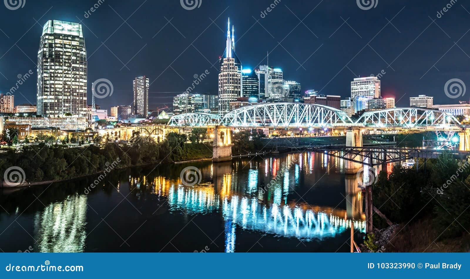 Nashville Night Skyline stock photo  Image of southern