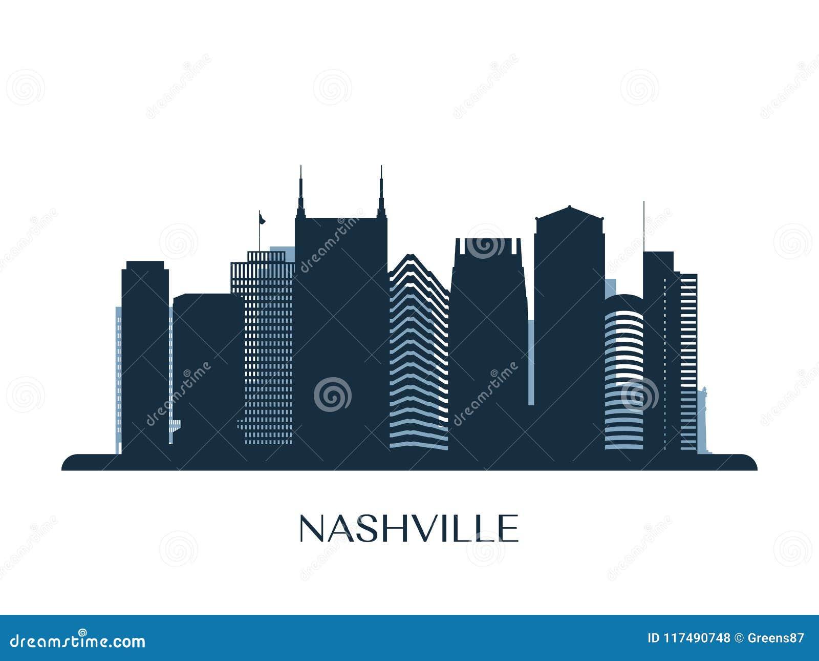 Nashville Skyline Monochrome Silhouette Stock Vector