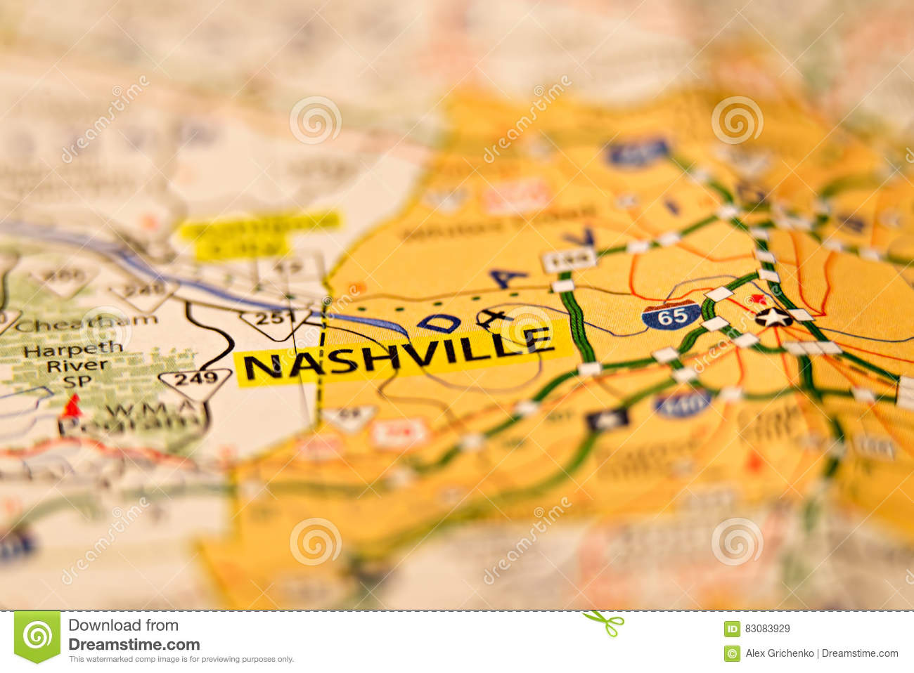 Nashville Tn Area Map Photo Stock Image - Image of macro, industry ...