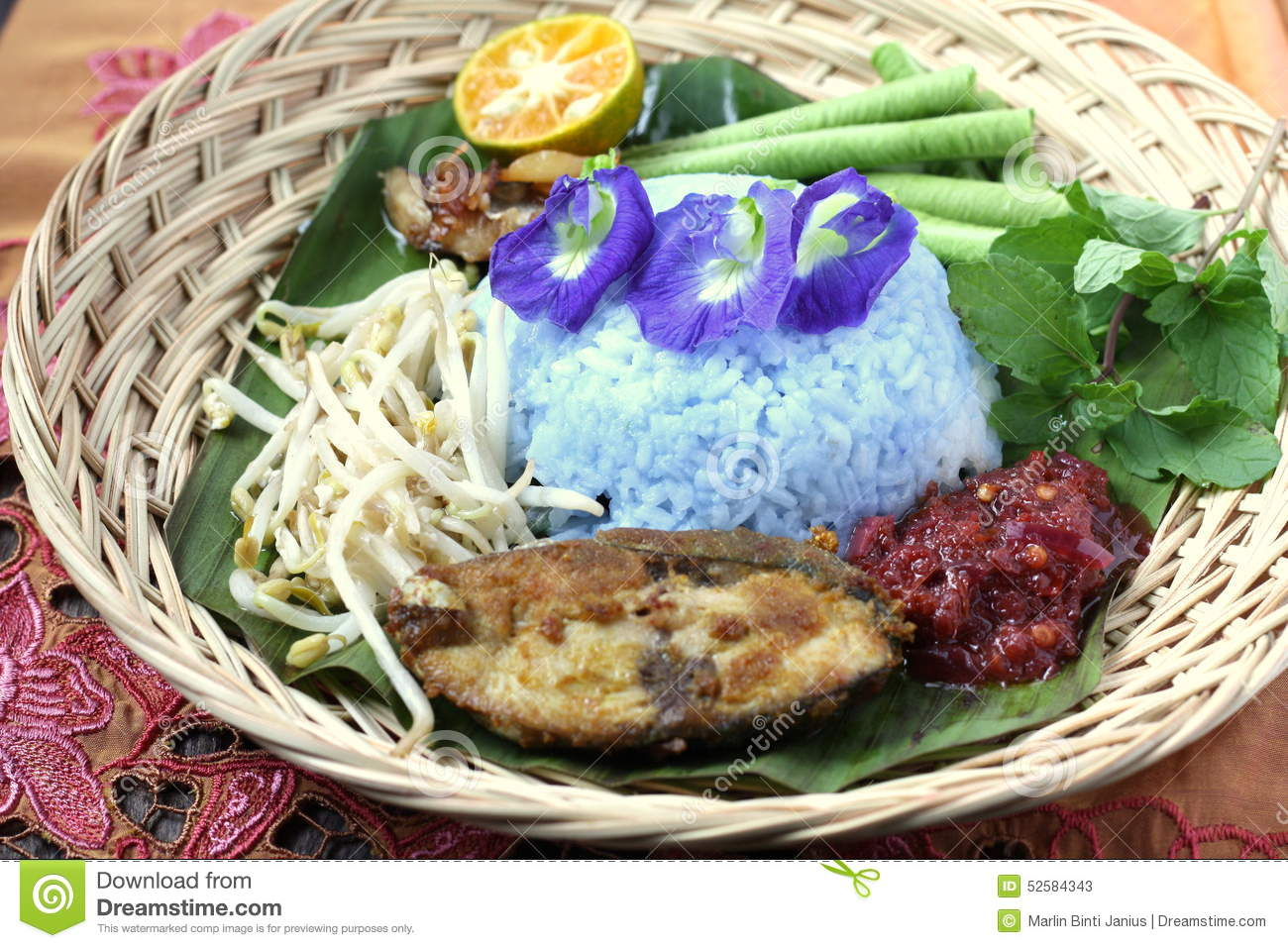 Nasi kerabu malaysian traditional cuisine stock image for Authentic malaysian cuisine