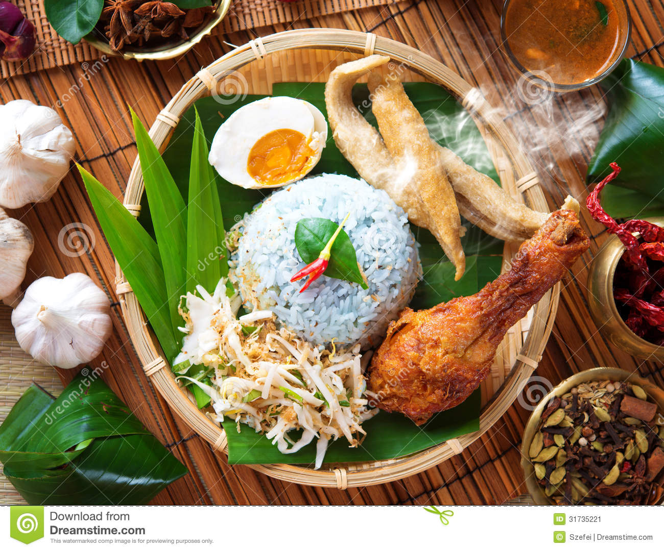 Nasi kerabu is a type of nasi ulam, popular Malay rice dish. Blue ...