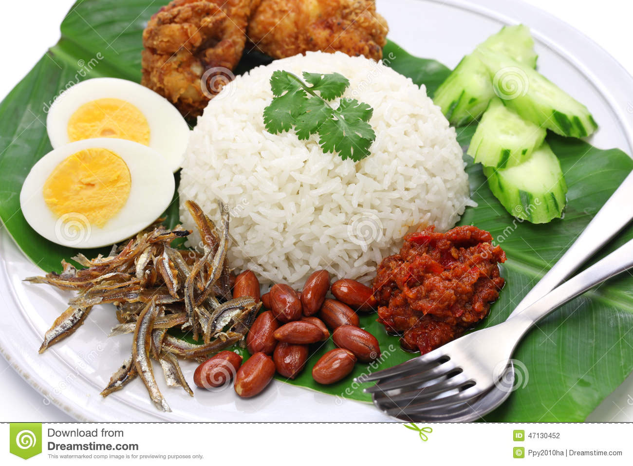 Nasi lemak coconut milk rice malaysian cuisine stock for Authentic malaysian cuisine